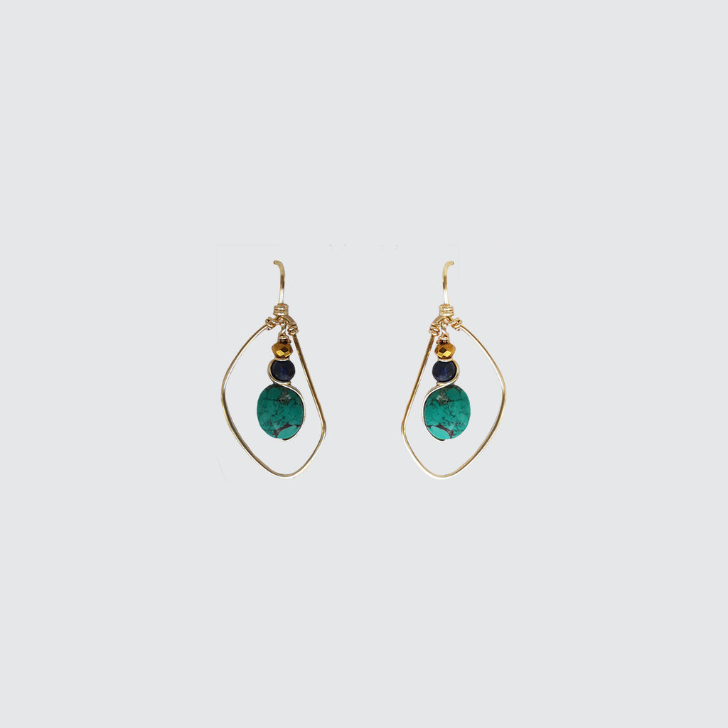 Turquoise and Lapislázuli Stone Earrings