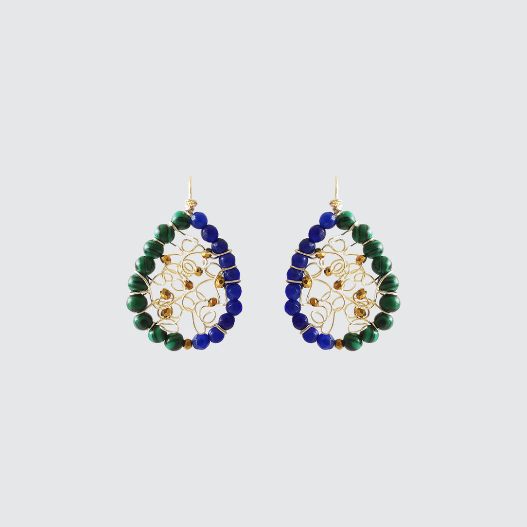 Malachite and Lapislazuli Hoop Earrings
