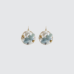 Aquamarine Round Earrings
