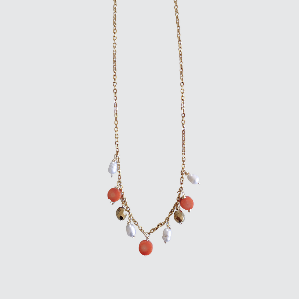 Pink Coral and Pearls Necklace