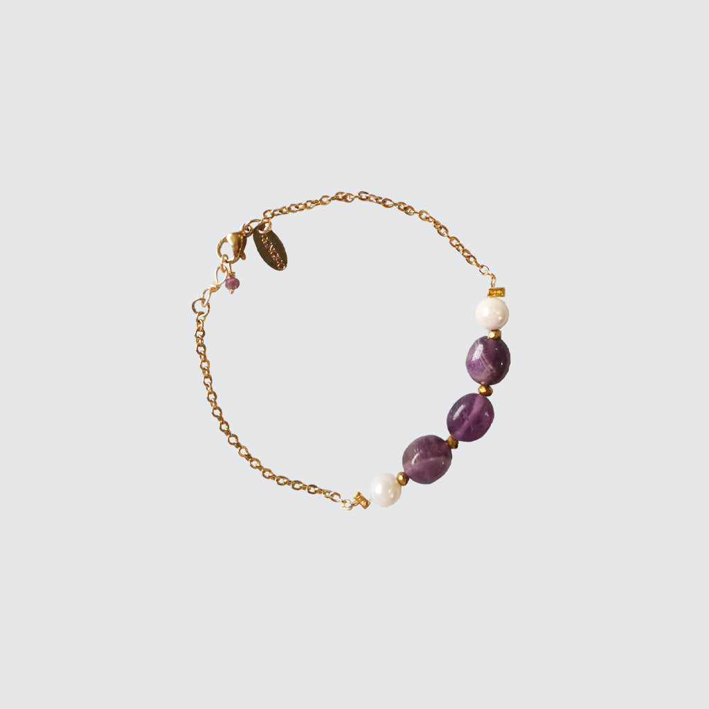 Purple and pearls amatista bracelet