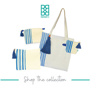 Blue Lines Collection, Handpainted Travel Bag