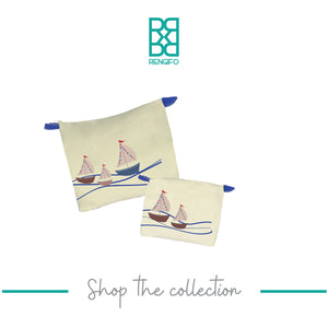 Boat Collection, Handpainted Makeup Bag