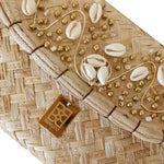 Gold and Shells Embroidery Wicker Small Clutch