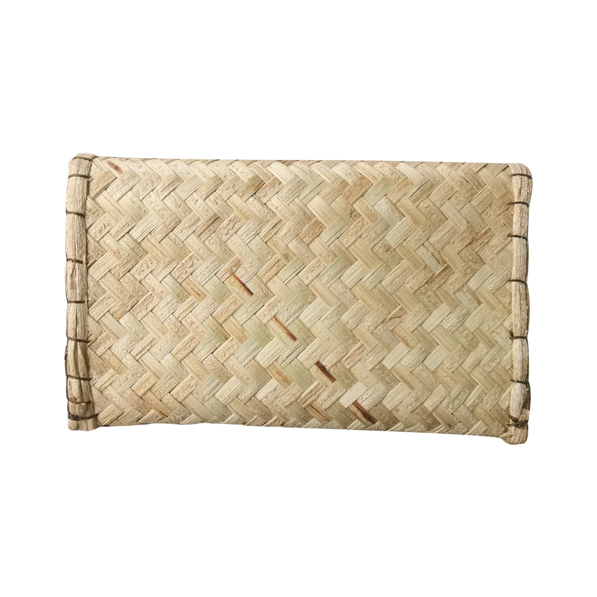 Brown Embroidery Medium Clutch