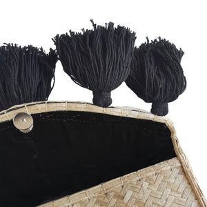 Black Embroidery and Tassels Medium Clutch