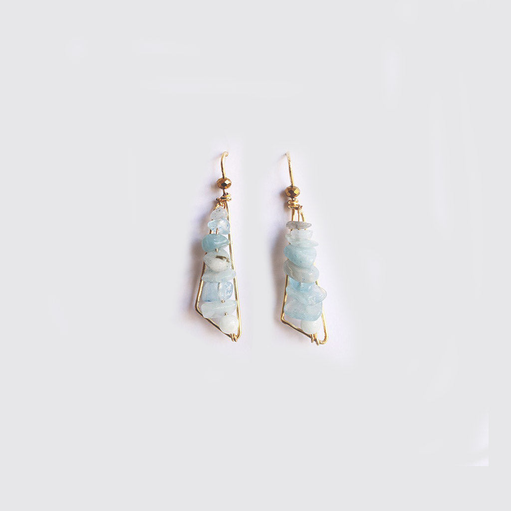 Aquamarine Small Triangular Earrings