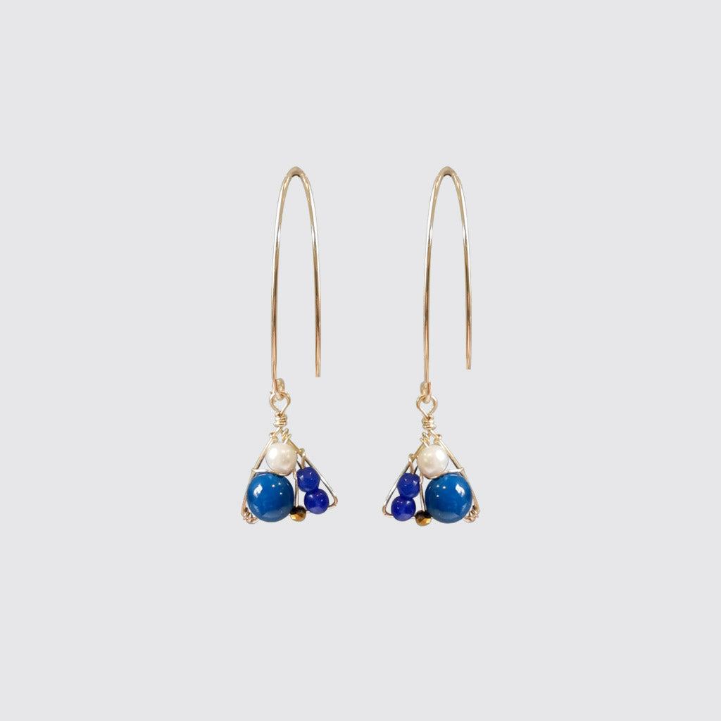 Blue Agatha Long Earrings