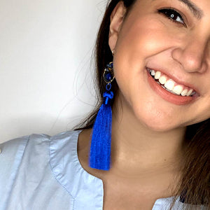 Blue Tassel with Lapis Lazuli earrings