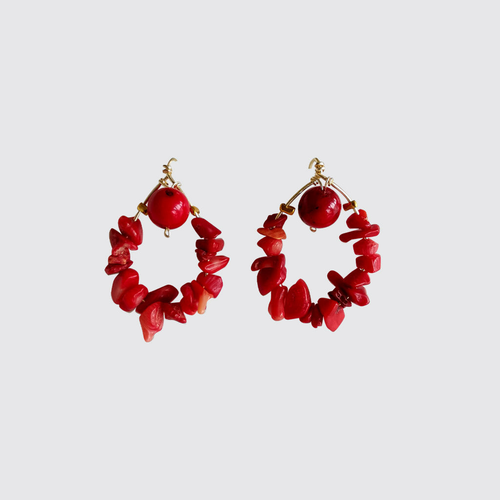 Red Coral Loop Earrings