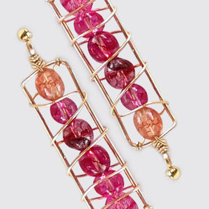 Detail of the Pink tourmaline long earrings