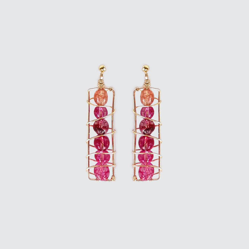 Pink tourmaline long earrings