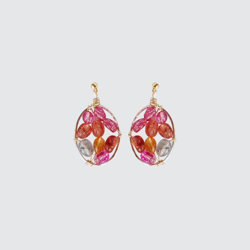Oval EARRINGS with Pink natural stones