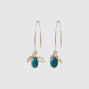 Turquoise earrings with nacar
