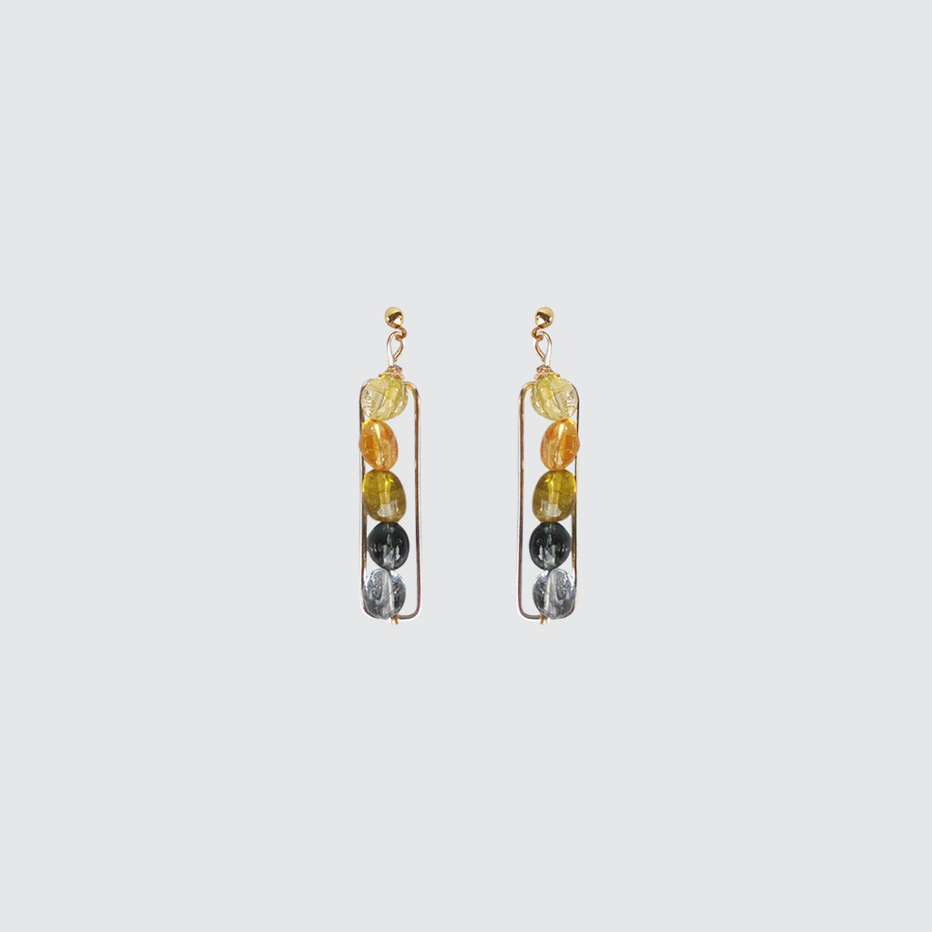 Blue Tourmaline Stone Long Earrings