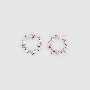 Pearl and Coral Loop Earrings
