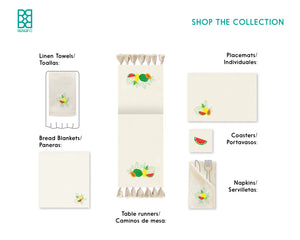 Tropical Fruits Collection, Handpainted Cotton Placemats