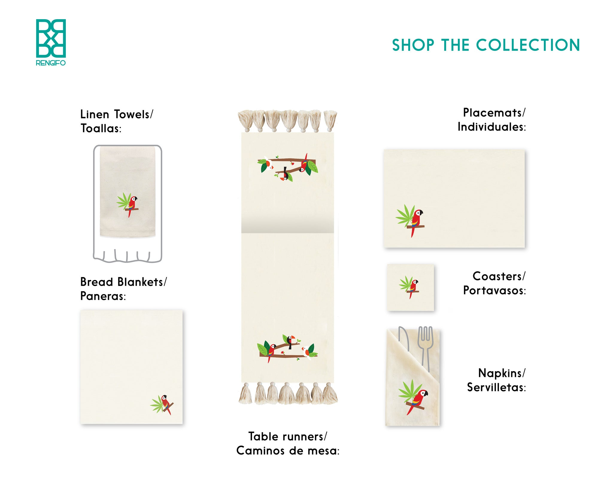 Guara Collection, Handpainted Cotton Placemats
