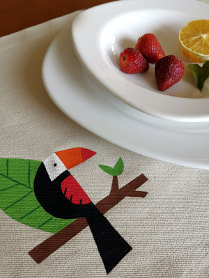 Geometric Toucan Collection, Handpainted Cotton Placemats