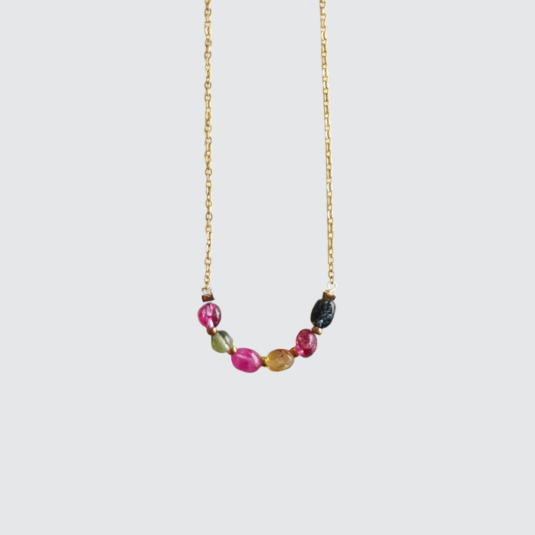 Short NECKLACE Multicolor Tourmaline