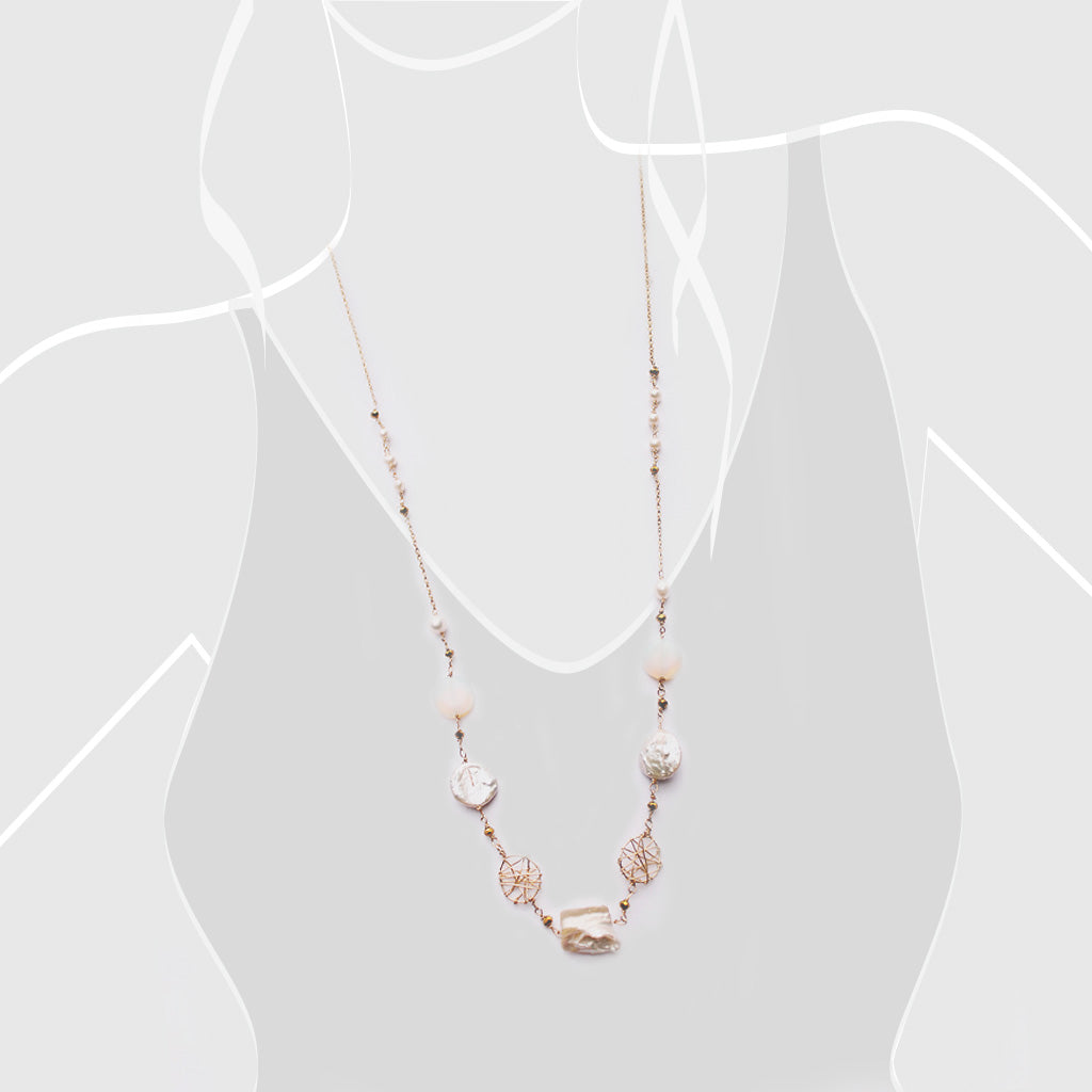 Wired Pearls Long Necklace