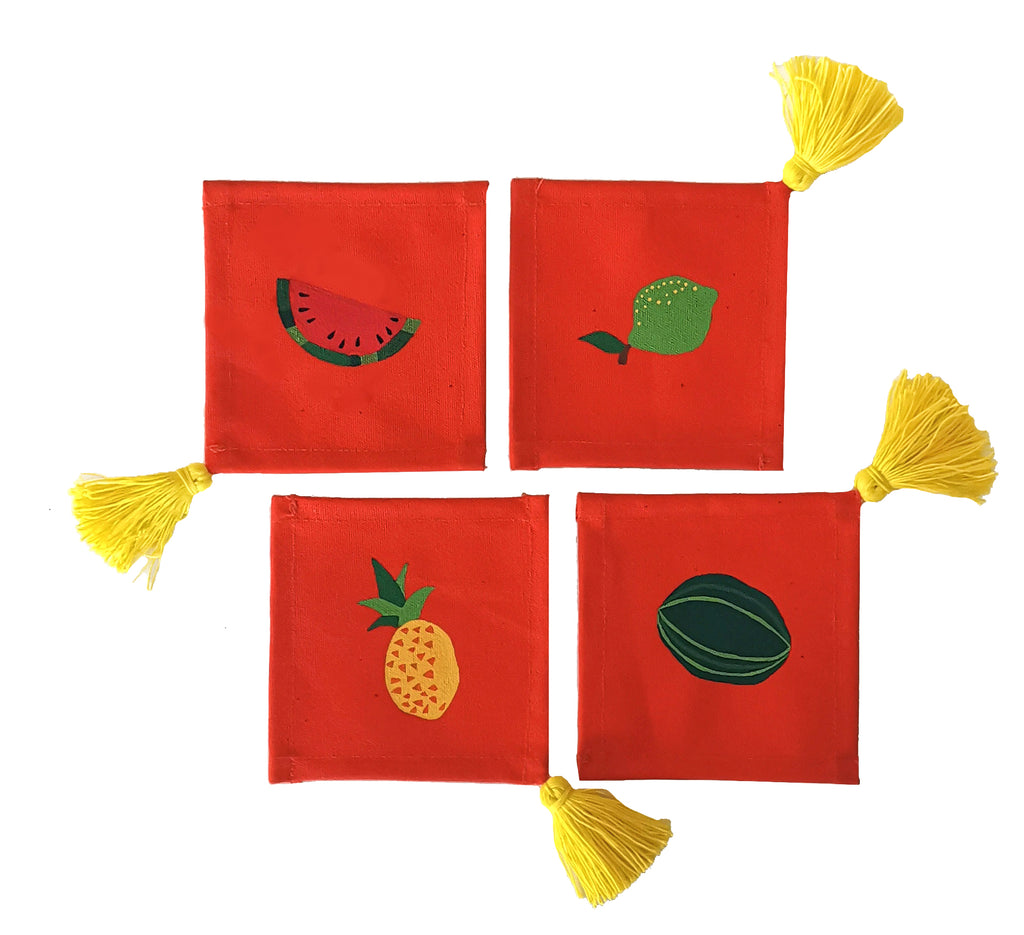 Tropical Fruits Collection, HandPainted Coasters, set of 4