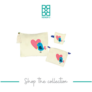 Love Bird Collection, Handpainted Makeup Bag