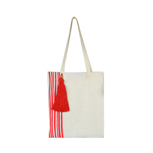 Red Lines Collection, Handpainted Tote Bag