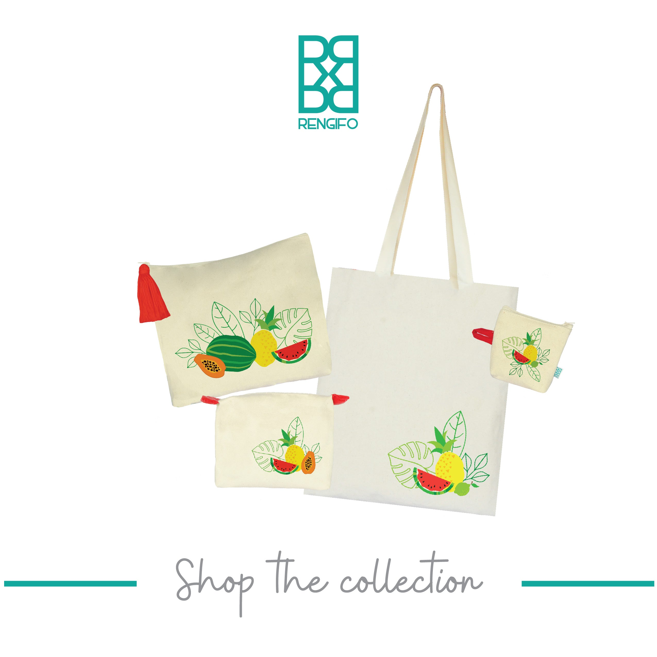 Tropical Fruits Collection, Handpainted Tote Bag