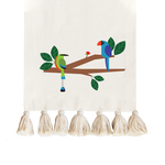 Tropical Birds Collection, Handpainted Cotton Table Runner