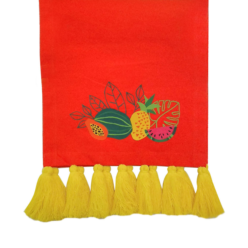 Tropical Fruits Collection, Handpainted Orange Table Runner