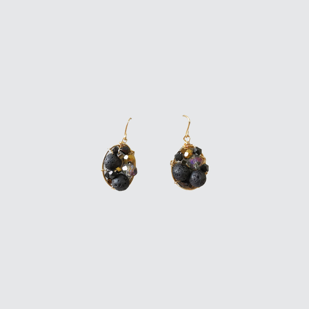 Volcanic Stone and Crystals Earrings