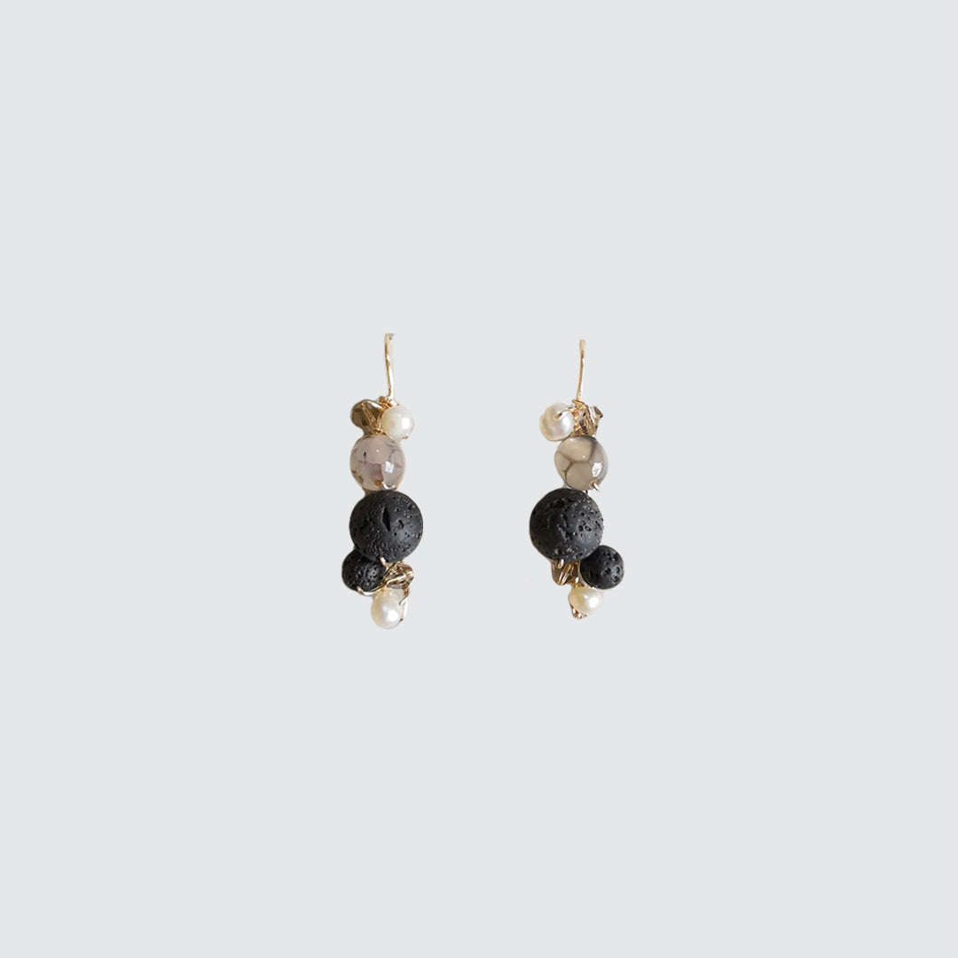 Pearl, Agate and Volcanic Stone Earrings