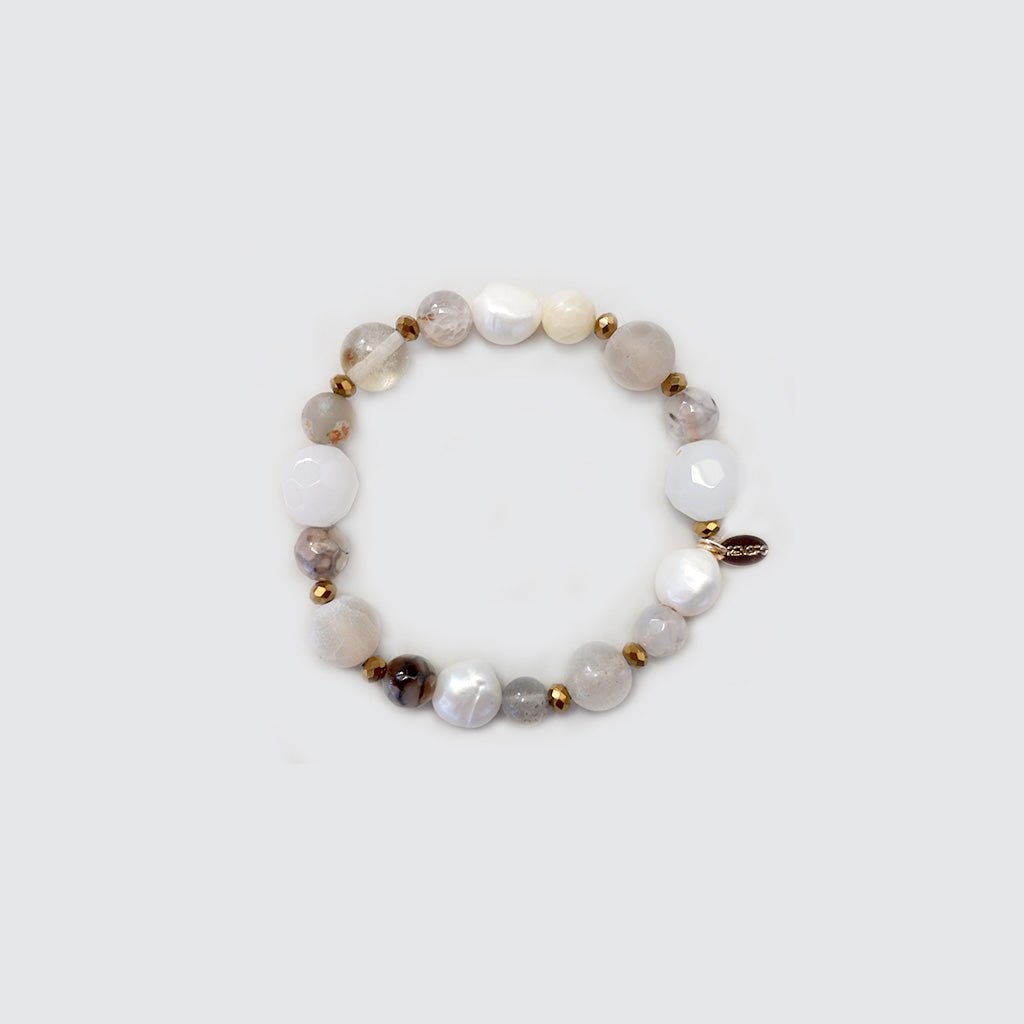 Quartz, Agatha and Pearls Bracelet