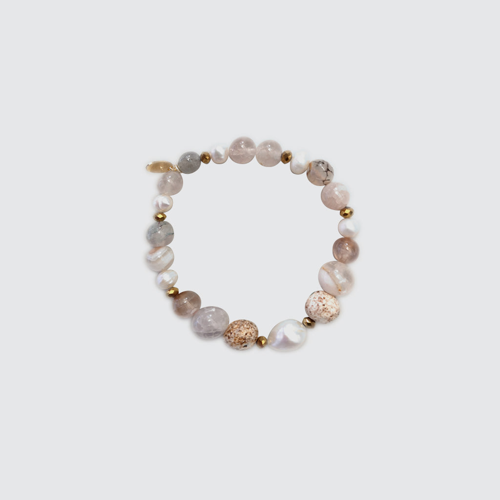 Jasper, Quartz and Pearls Bracelet