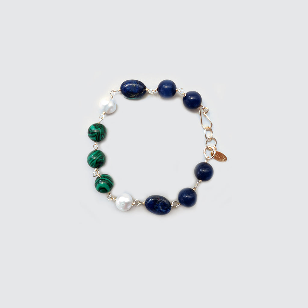 Lapis Lazuli, Malachite and Pearls Bracelet
