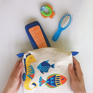 Seahorse Collection, Handpainted Makeup Bag