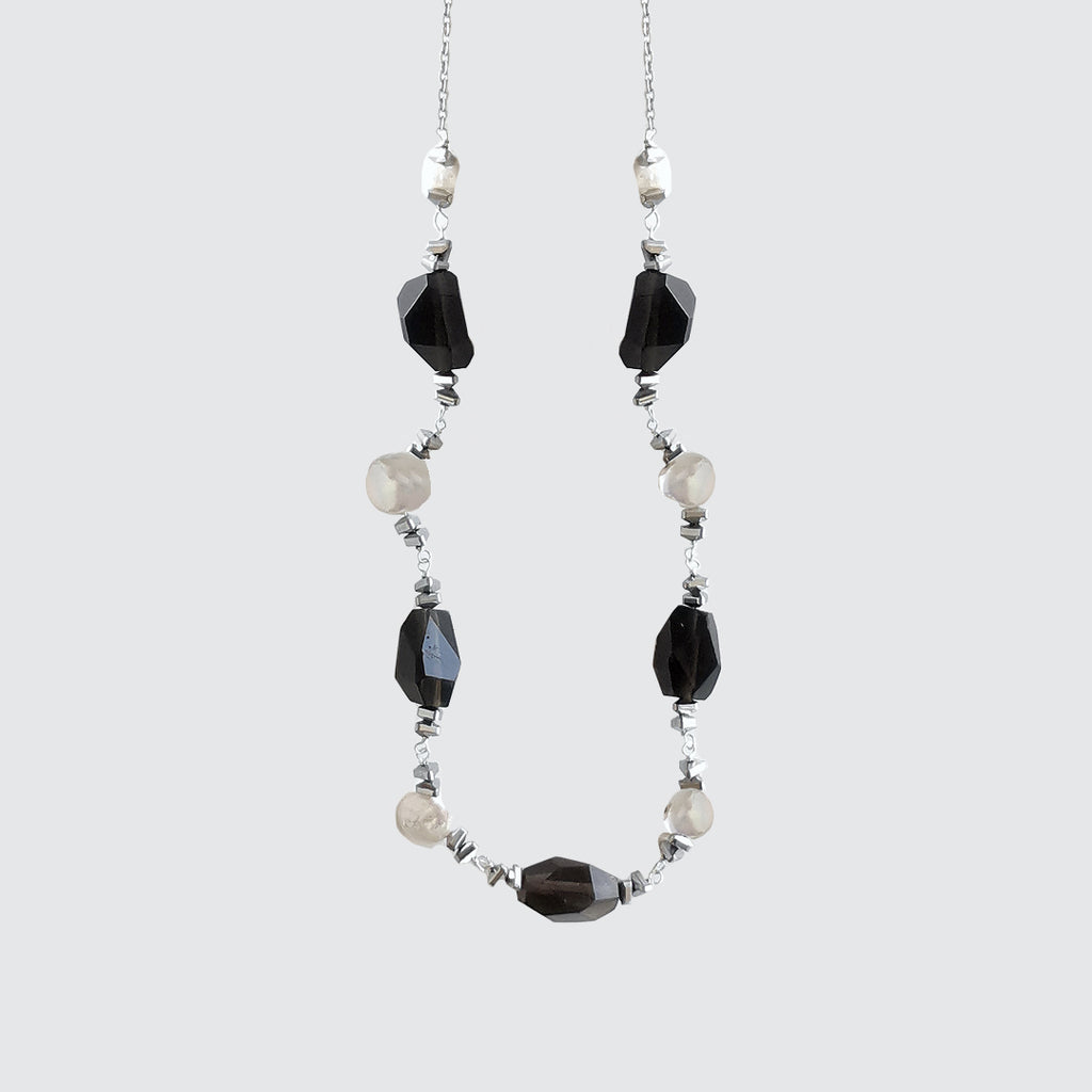 Pearls, Quartz and Hematite Stone Necklace