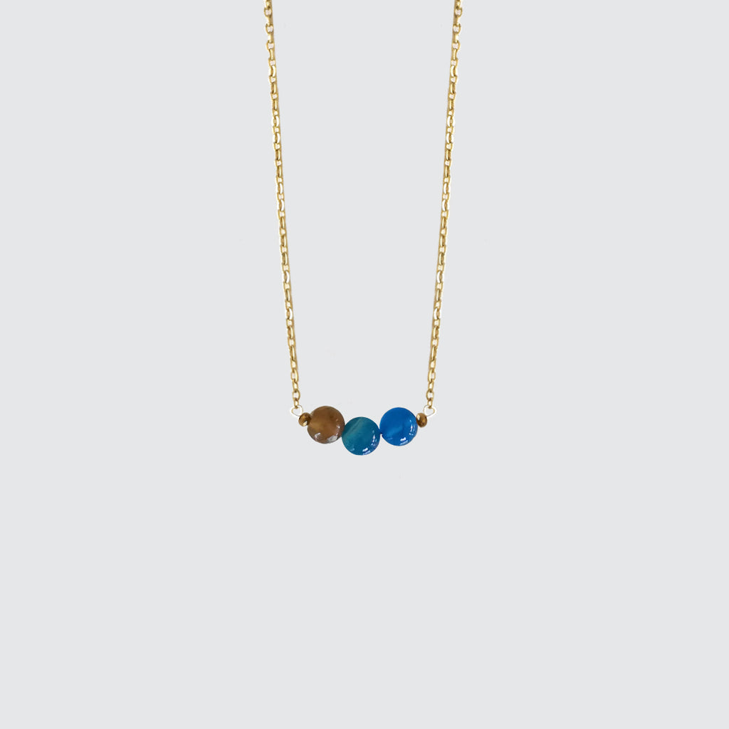 Blue Agate Stone Short Necklace