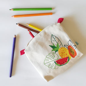 Tropical Fruits Collection, Handpainted Makeup Bag