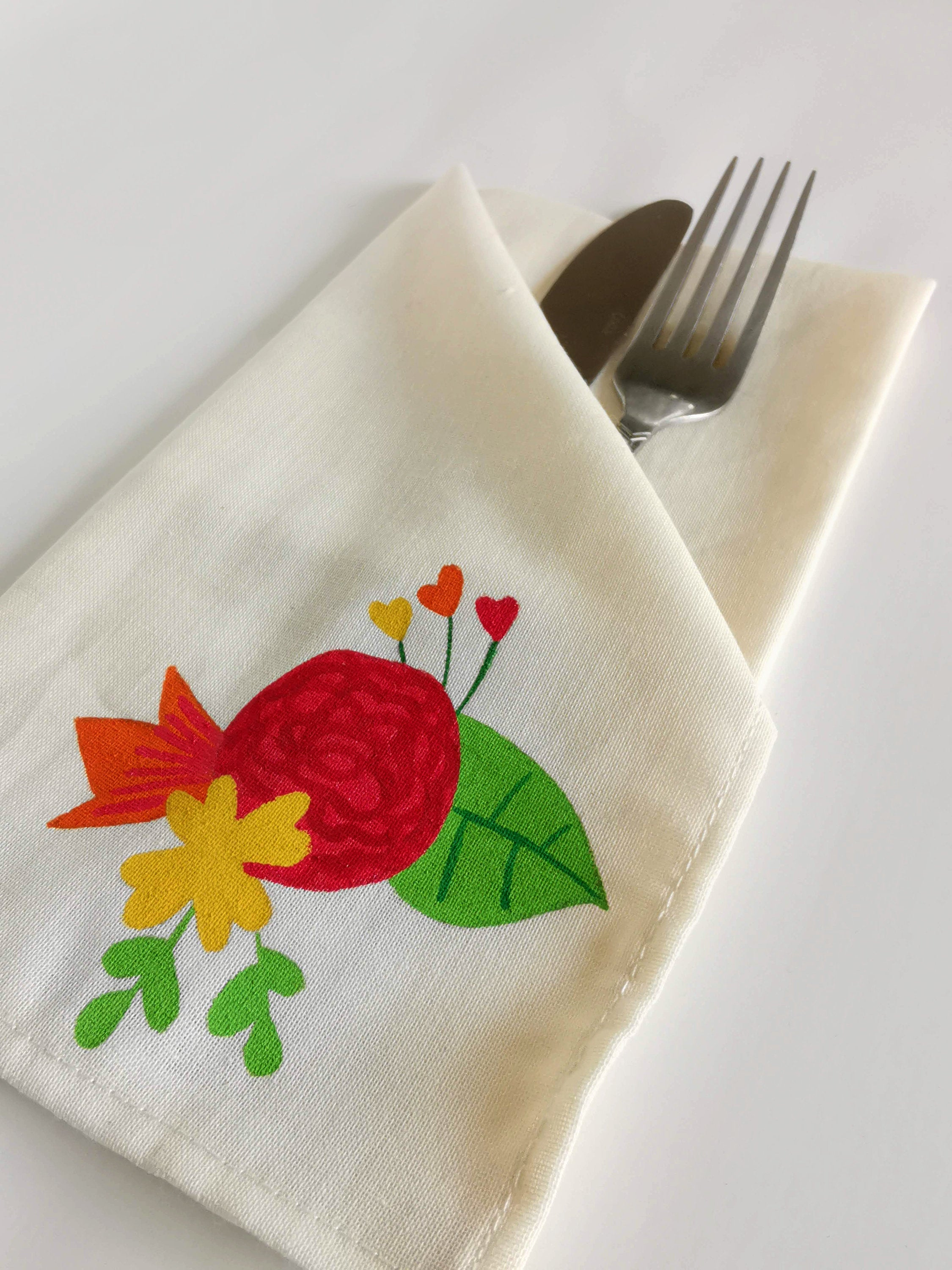 Corsage Collection, Handpainted Napkins, Set of 4.