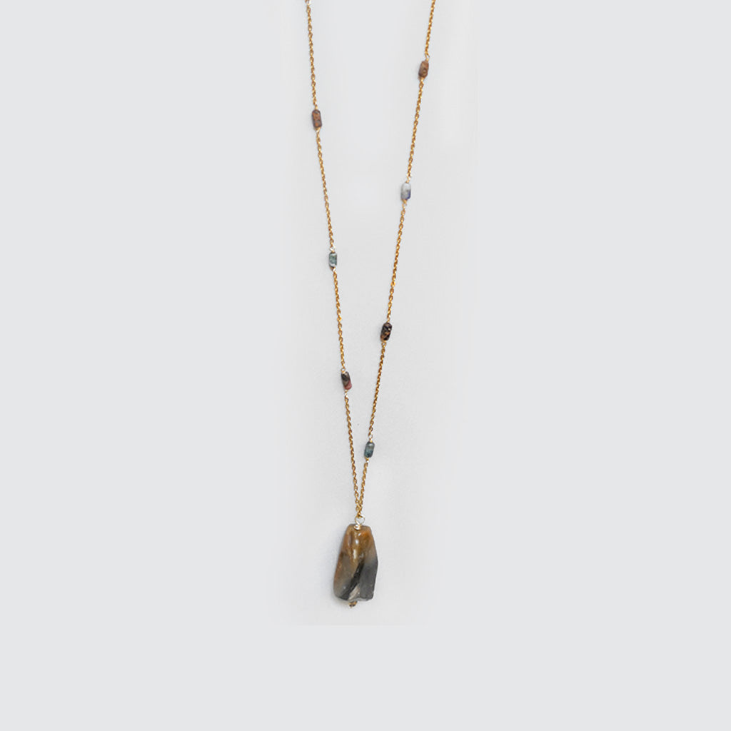 Brown Agate Stone Long Necklace