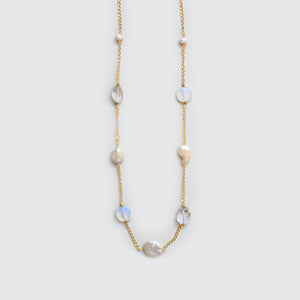 Pearls, Moon Stone and Quartz Long Necklace