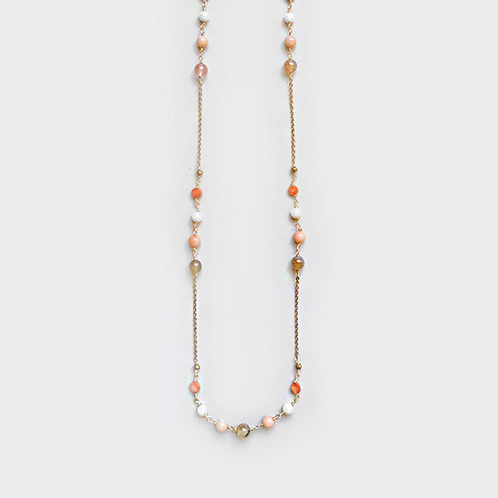 Quartz, Pink Corals and Pearls Necklace