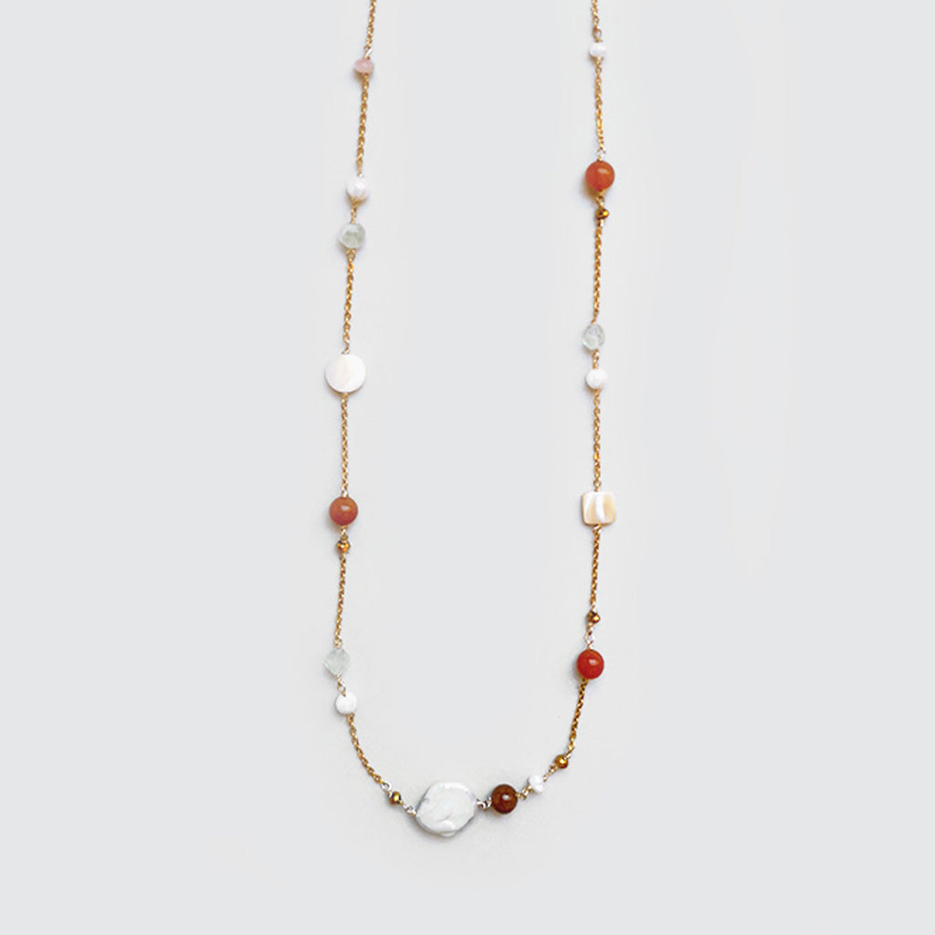 Goldstone, Nacar and Pearls Necklace