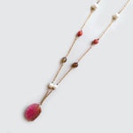 Pink Agate Stone and Pearls Necklace