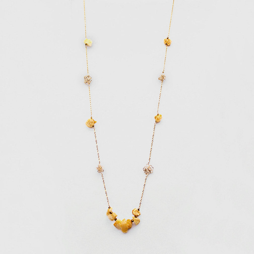 Yellow Druzy Quartz and Knots Long Necklace