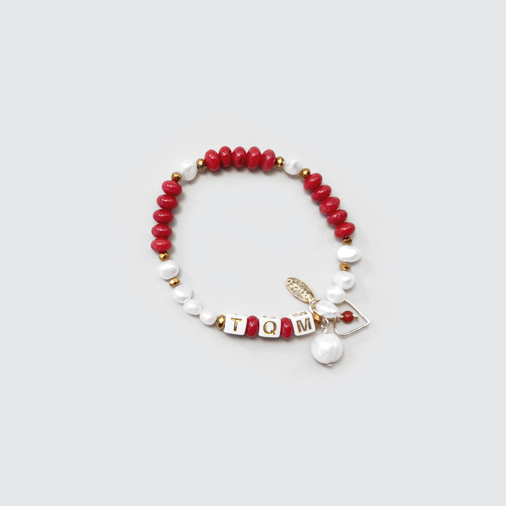 Red Corals and Pearls Bracelet