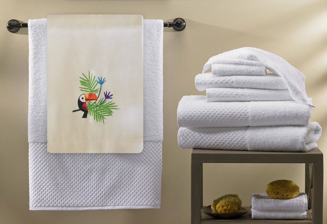 Toucan Collection, Handpainted Linen Towel, Set of two