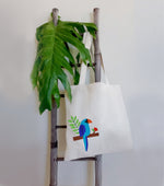 Geometric Blue Bird Collection, Handpainted Tote Bag